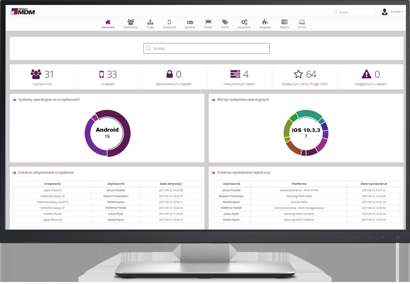 MDM Proget: konsola zarządzania