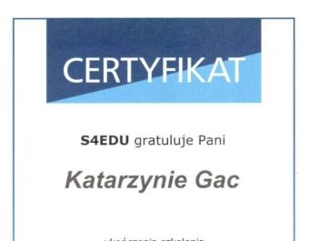 S4EDU certyfikat ukończenia szkolenia GDPR dla IT - dla Net Complex