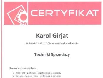 Karol Girjat - certyfikat techniki sprzedaży
