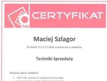 Maciej Szlagor - certyfikat techniki sprzedaży