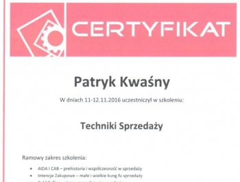 Patryk Kwaśny - certyfikat techniki sprzedaży