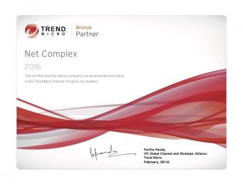 trend Micro Partner Program - Certyfikat Bronze Status Partner dla Net Complex