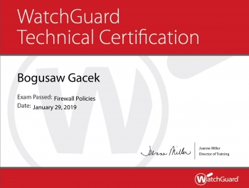 WatchGuard Technical Certification Firewall Policies - Bogusław Gacek