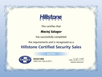 Hillstone Certified Security Sales - certyfikat dla Net Complex
