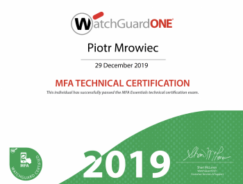 Piotr Mrowiec - WatchGuard MFA Technical Certification