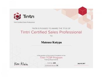 Tintri Certified Sales Professional - certyfikat dla Net Complex Mateusz Kutypa