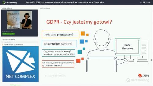 Webinar: Zgodność z GDPR oraz skuteczna ochrona infrastruktury IT - rozwiązanie Trend Micro
